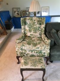Vintage Arm Chair with foot stool.