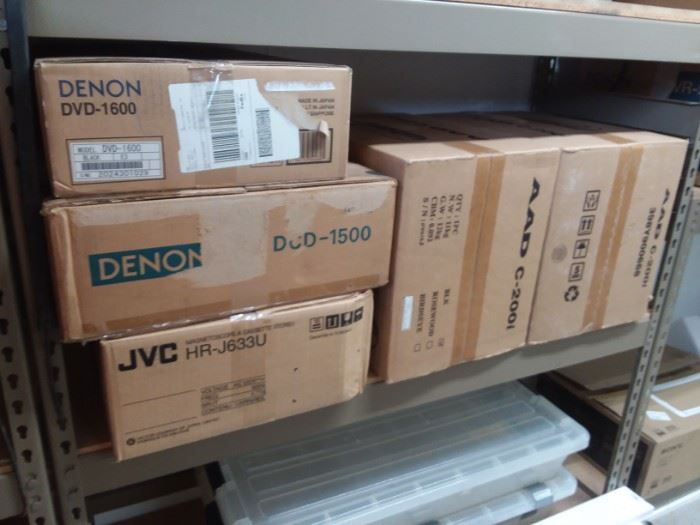 Lots of new and like new stereo components.
