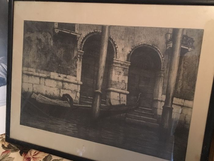 Large Original Venice Etching