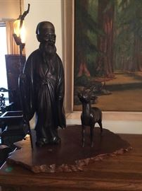 Bronze Statue with Deer. Bid item only. Please text in/email or show up in person @ the Estate sale and place a silent bid on this item.