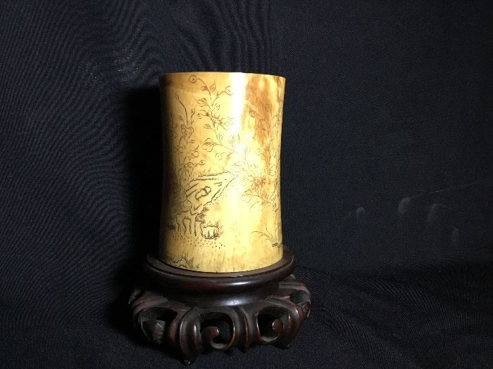 Ivory brush pot. Bid item only. Please text in/email or show up in person @ the Estate sale and place a silent bid on this item.