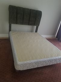QUEEN BED WITH VELVET  HEADBOARD  ALL FOR 150.00