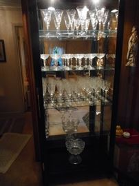 Asian Inspired Tall Lighted Curio Cabinet, 4 Tier Glass Shelves