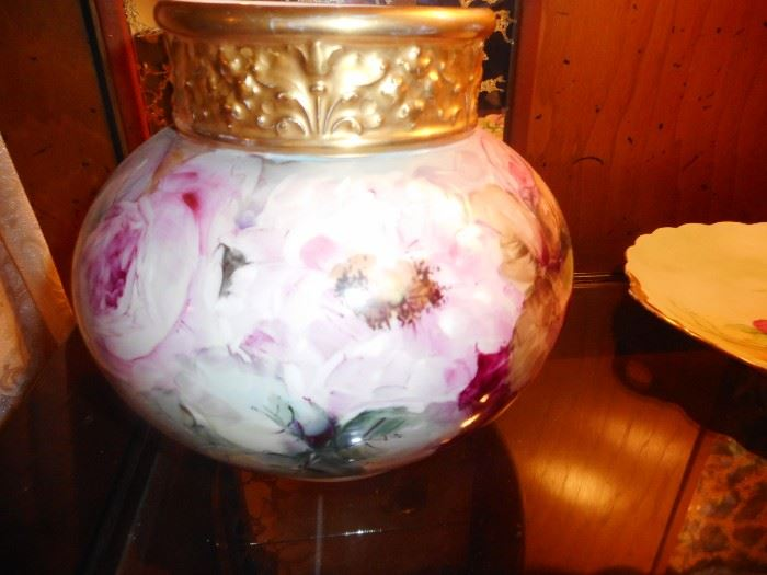 Vintage Hand Painted Jean Pouyet Limoges France Ball Vase