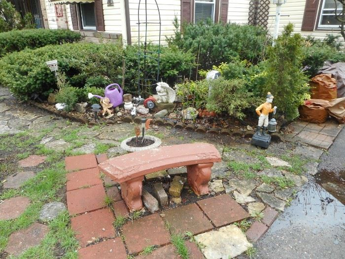 Outdoor Decorations. Front and Yard. Cement Bench. Jockey SOLD.