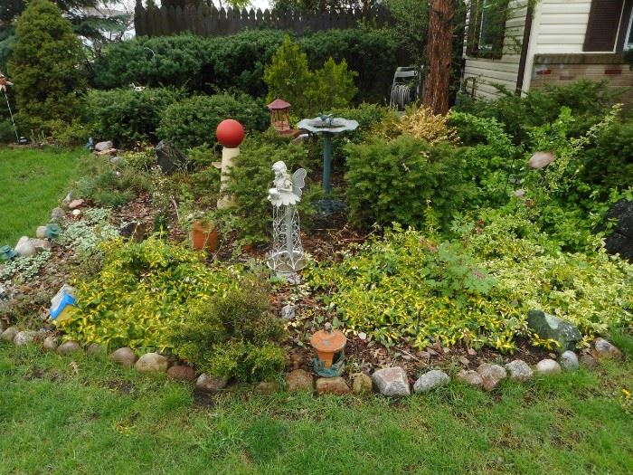 Bird Bath in Picture SOLD.Lawn Decorations