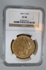 1862S $20.00 Liberty Gold