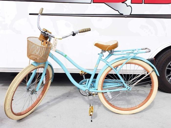 4868204694a #54: Womens Huffy Beach Cruiser Baby Blue With Tan & Cream Wheels, Tires