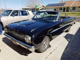#60: 1963 Ford Falcon Electric Convertible Top, Running, See Video! 10,000 miles since 2001 on new block. Electric convertible top. Custom upholstery. New tires. Yellow and Black License plate, with current tags. JVC Head unit. Original trunk liner and spare tire cover. New Shocks, brakes, U-joints, mechanism all in excellent condition. Has maintenance record notes. Beautiful car  DMV fees: $15 transfer and $70 doc fees