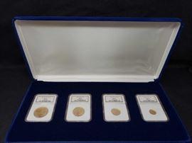 #400: Cased 4 Piece Set of 2004 Gold Eagle Bullion Coins MS 69 Set includes a 1 oz fine gold $50 coin, 1/2 fine gold $25 coin, 1/4 oz fine gold $10 coin, 1/10 oz fine gold $5 coin Inventory: J52 Appraised Value: $2,400