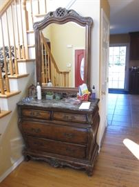 Marble Top Bombay Chest with Mirror
