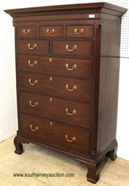 "SOLID Mahogany Bracket Foot 9 Drawer High Chest by ""Henkel Harris Furniture"" – auction estimate $1000-$2000"
