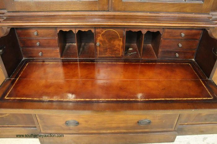 "BEAUTIFUL 2 Piece Burl Mahogany Inlaid 4 Door Breakfront with Leather Top Desk by ""Baker Furniture"" – auction estimate $1000-$2000"
