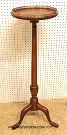 "SOLID Mahogany Candle Stand with Brass Gallery by ""Henkel Harris Furniture"" – auction estimate $200-$400"