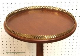 """SOLID Mahogany Candle Stand with Brass Gallery by """"Henkel Harris Furniture"""" – auction estimate $200-$400"""