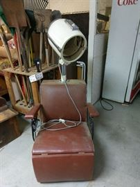 Vintage ladies hair dryer, leg rest extends for comfort.