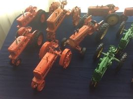 Table of toy tractors.