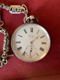 19th Century English Sterling Key Wind Pocket Watch with Chain and Key by J.W. Benson