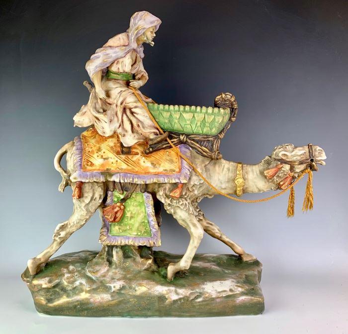 Huge Amphora Camel with Arab Rider C. 1890
