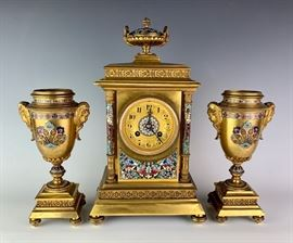 Champleve & Gilt Bronze 3 Piece Clock Set