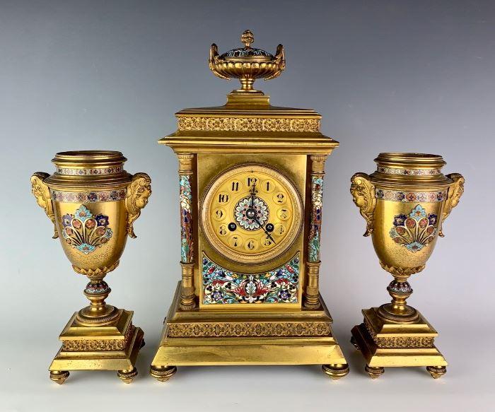 Champleve & Gilt Bronze 3 Piece Clock Set