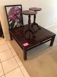 Nice mahogany coffee table and 2 small round mahogany tables
