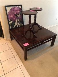 Nice mahogany coffee table and 2 small round mahogany tables