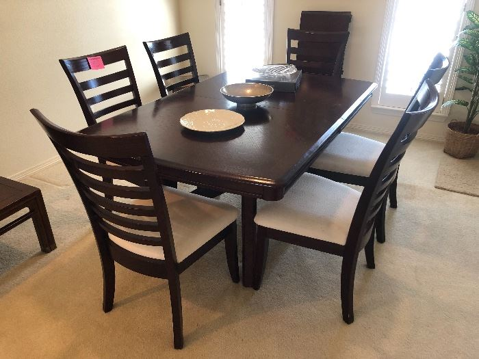 Cherry wood dining table with leaf and 6 chairs