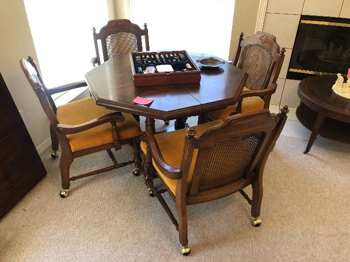 Vintage octagonal game table with 4 chairs
