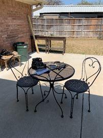 Wrought iron bistro set