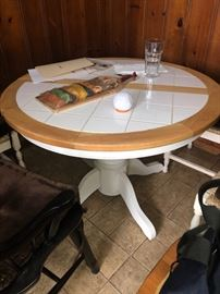 Round tile top kitchen table