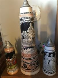 """German Steins - Large one is 27"""" Tall"""