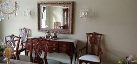 Sideboard and 8 dining chairs--two with arms