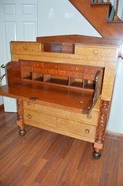 Antique Tiger Maple Desk