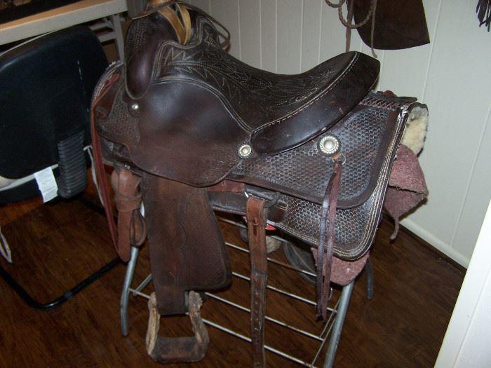 old saddle signed Circle Y, Yoakum, Texas