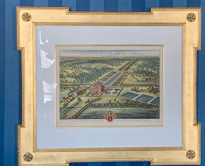 """19. Pair of Gilt Framed Colored Etchings by L. Knuffdel (34"""" x 30"""")"""
