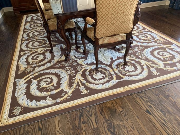 """18. Aubusson Brown, Blue and Gold Rug (10' x 13'7"""")"""