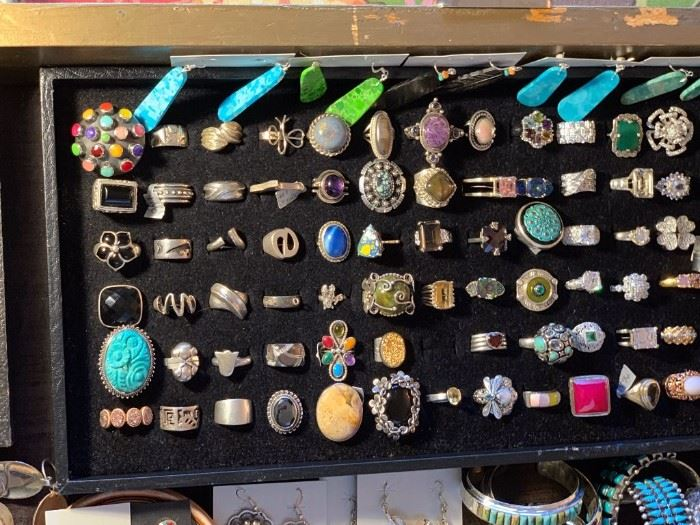 Sterling silver rings and Native American turquoise slab earrings, all 50% off!