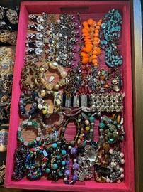 Newer statement costume jewelry with a few vintage pieces mixed in, all 50% off!