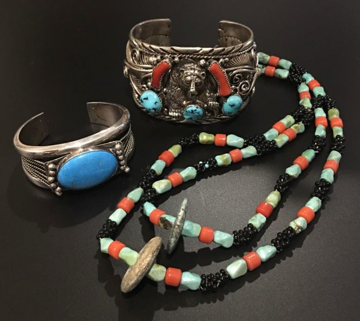 Native American jewelry in sterling silver, a mix of vintage and newer. 50% off original prices!