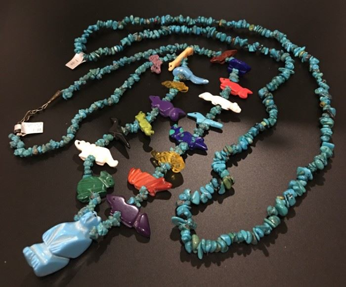 Turquoise nugget necklace and fetish necklace with turquoise nuggets, 50% off original prices!