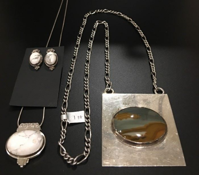 White Buffalo set SOLD - Sterling silver jewelry including a white buffalo set and a picture jasper pendant necklace. 50% off original prices!