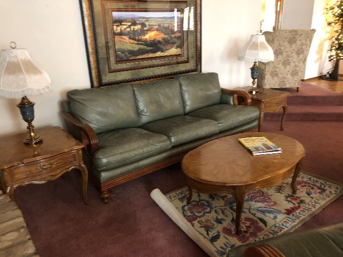 Thimasvilke leather couch and chairs