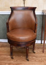 Elegant Swivel Barrel Chair with Casters
