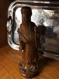 "Chinese Wiseman with Bamboo stick 12""  wood carving"