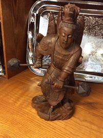 "Chinese Drummer 12"" carved from wood"