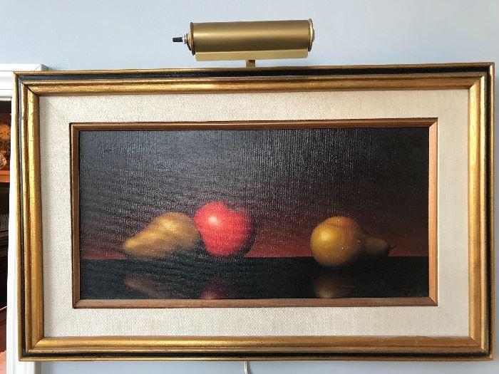 Original Signed Oil Still Life Painting by Alfred (Al) Jackson.. He was fascinated with  water drops and South Western Pottery. Participated in the Annual Gold Coast as well as the 57th Street Art Fairs.  Owner purchased this painting from Mr. Jackson when he participated in the Plaza Art Fair.
