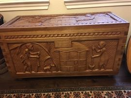 Carved Takala wood chest