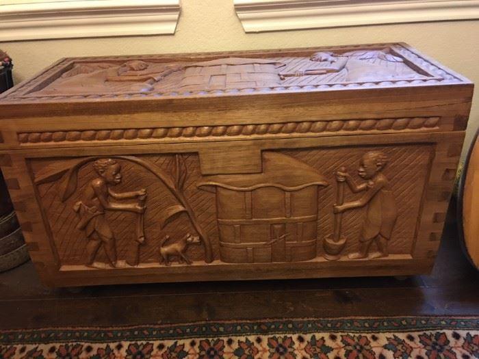 Carved Takala wood chest