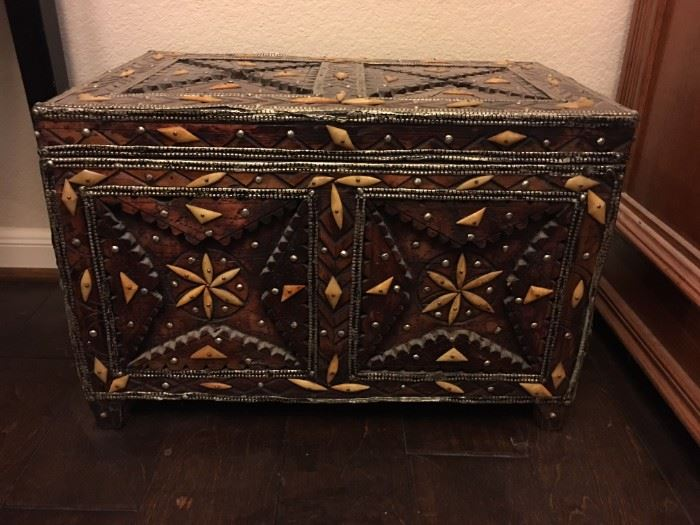 Hand carved and bone chest